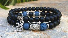 Mens Buddha, Om Bracelet Set, Matt Black Onyx, Blue Lava Stone, Men's Buddha Bracelet, Om Bracelet, Mala, Yoga, Boho Jewelry, Prayer Beads by Braceletshomme on Etsy