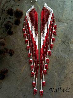 feather earrings native style earrings beaded earrings seed bead earrings modern earring boho e Seed Bead Jewelry, Seed Bead Earrings, Fringe Earrings, Feather Earrings, Diy Earrings, Earrings Handmade, Hoop Earrings, High Jewelry, Pearl Earrings