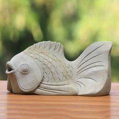 Sandstone statuette, 'Kaper Fish' - Handmade Stone Sea Life Sculpture Some sort of simple shape Concrete Sculpture, Fish Sculpture, Pottery Sculpture, Stone Sculpture, Pottery Art, Pottery Animals, Ceramic Animals, Clay Animals, Ceramic Art