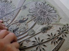 Angie Lewin working on a linocut. www.angielewin.co.uk. Tags: Linocut, Cut, Print, Linoleum, Lino, Carving, Block, Woodcut, Helen Elstone, Lucienne Day.