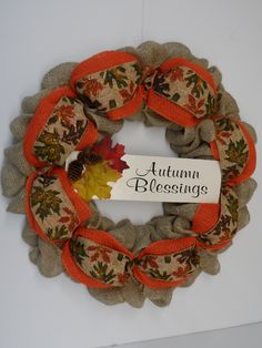 Fall Burlap Wreath, Burlap Wreath with Autumn Blessings, Autumn Burlap Wreath, Front Door Fall Burlap Wreath, Thanksgiving Door Wreath by BeautifulHomeAccents on Etsy