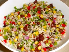 Gerson-friendly rice salad recipe.  By the way capsicum is just bell peppers to us Americans!