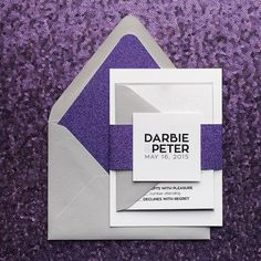 DARBIE Suite Glitter Package, purple glitter, modern wedding invitation, silver and purple, starburst