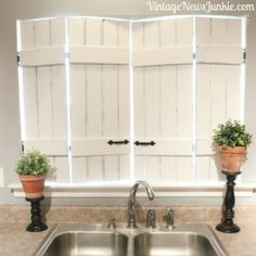 DIY Shutters - repurpose IKEA bed slats to shutters by Vintage News Junkie . - DIY Shutters – repurpose IKEA bed slats to shutters by Vintage News Junkie … DIY Shutters - Ikea Bed Slats, Diy Shutters, Indoor Shutters For Windows, Diy Interior Shutters, Kitchen Shutters, Kitchen Windows, Barn Windows, Kitchen Window Decor, Repurposed Shutters