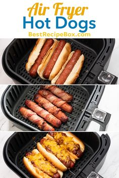 air fryer recipes Theres so many ways to enjoy air fried hot dogs! We show you many ways on how to cook air fried hot dogs like chili cheese, bacon wrapped, jalapeno dogs Air Fryer Recipes Breakfast, Air Fryer Oven Recipes, Air Fryer Dinner Recipes, Toaster Oven Recipes, Air Fryer Cooking Times, Cooks Air Fryer, Air Fryer Steak, Fried Hot Dogs, Bacon Hot Dogs