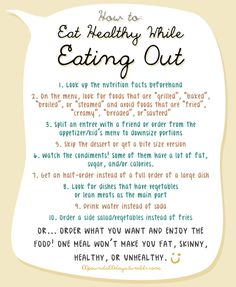 How to eat well when out  Great tips for eating out and staying on the Yes You Can! Diet Plan