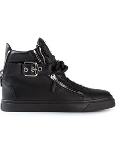 Giuseppe Zanotti Design, Chain Detail Hi-top Sneakers (Black)