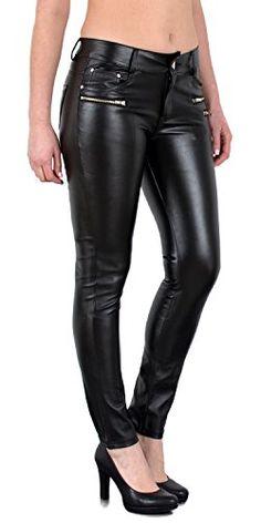 by-tex Pantalon Femme Jean Femmes Slim Pantalon en Cuir pour Femmes Cuir  Simili Pantalon H12 7f2350fd8e7