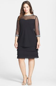 Embellished Tiered Shift Dress (Plus Size)