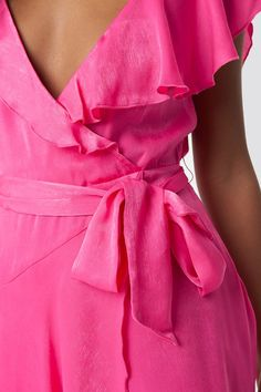 The Asymmetric Wrap Frill Dress by NA-KD Party features thin adjustable straps, a flounce detail along the chest and back with a cold shoulder design, frill details, a subtle back zipper, and is not lined. Frill Dress, No Frills, Magenta, Dresses, Fashion, Vestidos, Moda, La Mode
