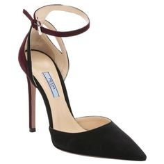 Prada Black and plum suede ankle strap pumps ($595) ❤ liked on Polyvore featuring shoes, pumps, heels, black suede pumps, black stilettos, pointy-toe pumps, high heel shoes and black pumps