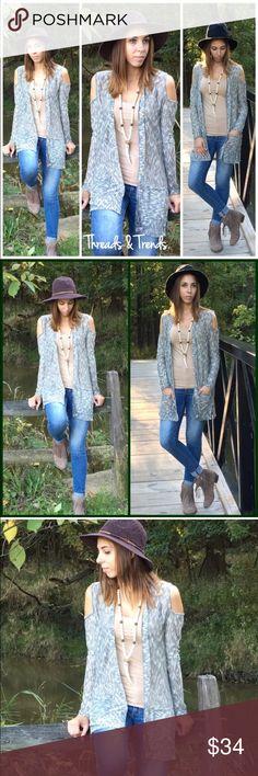 Cold Shoulder Marled Cardigan Grey cold shoulder marled open cardigan sweater. Featuring two front pockets. Light weight. Made of rayon/spandex blend. Size S, M, L                                                                   Small Bust 36 Length 32  Medium  Bust 38 Length 33  Large Bust 40 Length 34 Sweaters Cardigans