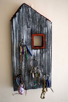 Key Holder Made of Wood and Paper House Key Holder by irineART