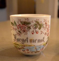 Antique Mustache Cup Forget Me Not Germany by SongSparrowTreasures $10