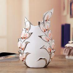 Europea hechos a mano creativa de cerámica de gran jarrón de porcelana blanca…