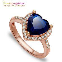 Rosa banhado a ouro anéis de aniversário para mulheres anillos jóias coração de cristal(China (Mainland))