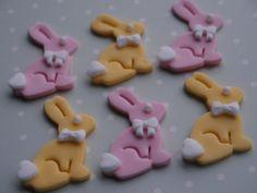 12 Easter Bunny Edible Rabbit Fondant Cake by RainbowCakeToppers, £9.99
