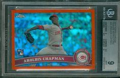 2011 Topps Chrome Orange Refractor Aroldis Chapman #68 BGS 9 SUB 9.5 Rookie