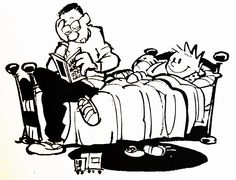 Calvin and Hobbes, DE's CLASSIC PICK of the day (7-10-14)  Bedtime stories.