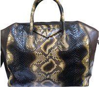 Givenchy Python Snakeskin Antigona Medium Satchel in Brown