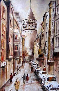 Galata Tower, painted b y Berrin Duma. @@@@*******.....http://es.pinterest.com/banucan13/ya%C4%9Fl%C4%B1-boya/