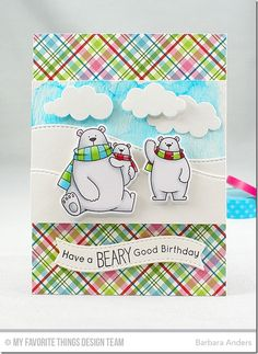 Polar Bear Pals Stamp Set and Die-namics, Stitched Snow Drifts Die-namics, Puffy Clouds Die-namics, Blueprints 25 Die-namics - Barbara Anders  #mftstamps