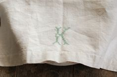 vintage linen texture | Antique Linen Towel with Cross Stitch Monogram by FrogGoesToMarket