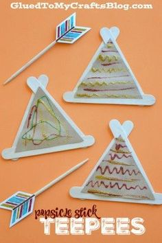 Stick Teepees - Kid Craft Popsicle Stick Teepees - Kid Craft for Thanksgiving, Native American or tents for a camping unit.Popsicle Stick Teepees - Kid Craft for Thanksgiving, Native American or tents for a camping unit. Thanksgiving Crafts For Kids, Easy Crafts For Kids, Toddler Crafts, Fall Crafts, Holiday Crafts, Thanksgiving Table, Daycare Crafts, Classroom Crafts, Glue Crafts