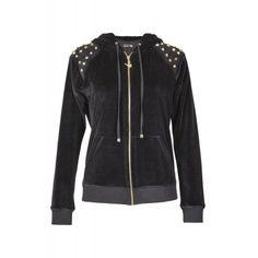 STUDDED VELOUR HOODIE Leather Jacket, Hoodies, Jackets, Collection, Fashion, Studded Leather Jacket, Down Jackets, Moda, Leather Jackets