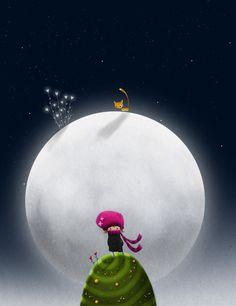 Gato en la luna de António João Santos