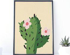 Impresión de la planta verde. Cactus para imprimir. Arte