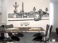 Vinilo inspirado en una escena romántica en París. #decoración #academia #francés #ideas #vinilo #TeleAdhesivo