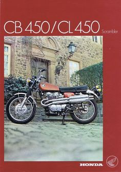 Cb 450, Honda Scrambler, Cafe Racer Motorcycle, Honda Cb, Classic Bikes, Brochures, High School, Germany, Japan