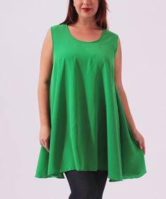 Another great find on #zulily! Hot Ginger Green Swing Tunic - Plus by Hot Ginger #zulilyfinds