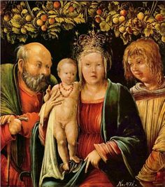 Holy Familywith an Angel - Albrecht AltdorferArtist: Albrecht Altdorfer Completion Date: 1515 Style: Northern Renaissance Genre: religious painting Dimensions: 22.5 x 20.5 cm Gallery: Kunsthistorisches Museum, Vienna, Austria Tags: Christianity, Holy-Family, angels-and-archangels