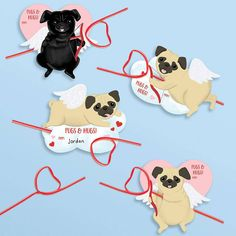These adorable cupid pug valentines cards are printed, pre-cut, and easy to assemble! Kit includes: pre-cut printed paper shapes and reusable straws. Tools needed: pen or pencil. Ages Set of 24 Pug Valentine, Cute Valentines Day Cards, Straw Valentine, Vintage Valentine Cards, Valentine Crafts, Printable Valentine, Craft Stick Crafts, Craft Kits, Mother's Day Diy