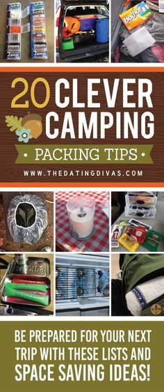 Camping Ideas, Packing Tips, and other useful camping hacks. From The Dating Divas dinner ideas for camping, camp fire food easy, easy recipes for camping Camping Ideas For Couples, Camping Hacks With Kids, Camping Packing Hacks, Camping Tricks, Camping Outfits, Camping Guide, Tent Camping Organization, Essentials For Camping, Organized Camping