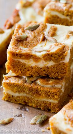 Pumpkin Cream Cheese Swirl Bars - Like a cream cheese frosted pumpkin bar, but better. Really! I LOVE these!