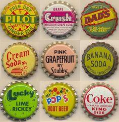 Soda bottle caps produced between 1930s — 1970s.