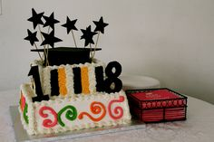 my eighteenth birthday/grad cake 18th, Cakes, Birthday, Desserts, Food, Tailgate Desserts, Birthdays, Deserts, Cake Makers