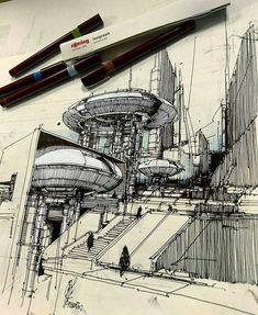 드로잉에 있는 wonhyo jang님의 핀 архитектурный эскиз, архитектурные эскизы 및 совреме Architecture Graphics, Architecture Drawings, Futuristic Architecture, Historical Architecture, Planetarium Architecture, Sketch Painting, Drawing Sketches, Art Drawings, Sketching