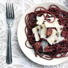 Drunken Spaghetti (Red Wine Spaghetti) with Olives, Capers, & Shaved Parmesan. Who says pasta can only be boiled in water? #foodgawker