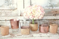 Rose Gold wedding decor, Set of 6 rose Gold dipped vintage vases and votive candle holders, table decorations, rose gold, glitter, upcycled by thepaisleymoon on Etsy https://www.etsy.com/listing/257050272/rose-gold-wedding-decor-set-of-6-rose