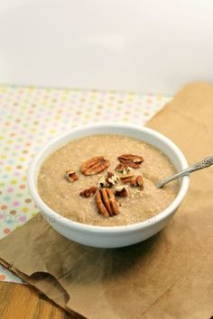 Butter Pecan Breakfast Porridge {Low-carb, sugar-free, THM:S} - this is a great high-fiber alternative to cold cereal, and it's made out of finely-ground unsweetened coconut flakes which may be a good choice if you can't eat (or don't want to eat) oats for some reason.