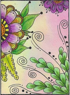 Colour it in! Zentangle Drawings, Doodles Zentangles, Zentangle Patterns, Doodle Drawings, Zen Doodle, Doodle Art, Art Journal Pages, Art Journals, Illustration Blume