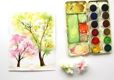 Spring Trees Watercolor Painting with... Crumpled Paper! - A Piece Of Rainbow Tree Watercolor Painting, Watercolor Art Landscape, Easy Watercolor, Watercolor Cards, Art Videos For Kids, Art For Kids, Crafts For Kids, Crumpled Paper, Spring Tree