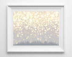 Sparkle City Skyscraper Silhouette Raining Gold Print by BebChic $12 11X14 print