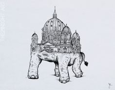 Rare Unique Animals by: The21Night  -Elephanthedral   ►https://www.behance.net/the21night   #Illustration #Art #Elephant #Berlin #Drawing #Surreal #Arquitecture #Animals