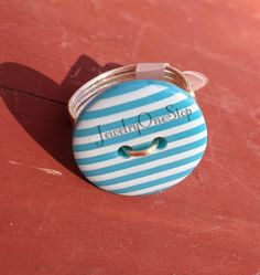 Turquoise Striped button ring