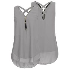 Best 12 Casual Women Solid Zipper V-Neck Backless Chiffon Tank Tops is personalized, see other cheap plus size kimono tops on NewChic Mobile. Chiffon Shirt, Chiffon Tops, Chiffon Blouses, Streetwear, Boho Fashion, Fashion Outfits, Womens Fashion, Ladies Fashion, Fashion Ideas